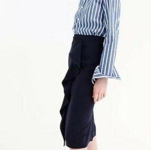 J. CREW Ruffle Pencil Skirt Navy 365 Crepe